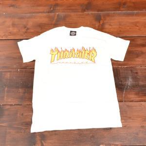THRASHER Tシャツ スラッシャー FLAME LOGO TEE WHITE S メンズ レディース ホワイト ストリート スケボー 正規品 半袖 ロゴ 白|crass
