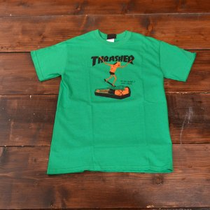 THRASHER Tシャツ スラッシャー NECKFACE WHO CARES TEE GREEN S メンズ レディース グリーン ストリート スケボー 正規品 半袖 コラボ 緑|crass