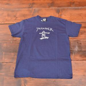 THRASHER Tシャツ スラッシャー GONZ TEE NAVY S M L メンズ レディース ネイビー ストリート スケボー 正規品 半袖 コラボ 紺|crass