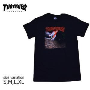 THRASHER Tシャツ スラッシャー CHINA BANKS TEE メンズ レディース ブラック ストリート スケボー 正規品 半袖 ロゴ 黒|crass