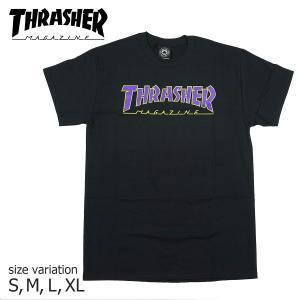 THRASHER OUTLINED T-SHIRT BLACK Tシャツ 半袖 スラッシャー ブラック ストリート スケボー 正規品|crass