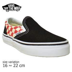 VANS スニーカー キッズ CLASSIC SLIP-ON KIDS Checkerboard black red ブラック レッド 子供 バンズ キッズシューズ スケボー スケシュー SK8 靴 crass
