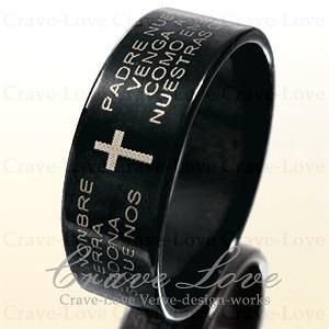 ローズ・プレイヤー(祈り)デザインの素敵なブラックステンレス・リングです。  リング幅/約6.7mm...