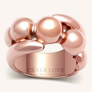 ボリューム感のある スフィア(球体)レディース リング 指輪 ピンクゴールド色   ローズゴールド色...