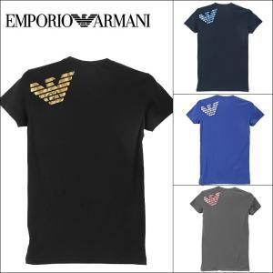 エンポリオ アルマーニ Vネック 半袖 Tシャツ メンズ EMPORIO ARMANI METAL EAGLE|crazyferret