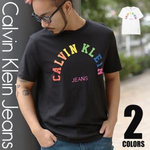 カルバンクライン CK 半袖 Tシャツ クルーネック メンズ レインボーロゴ Calvin Klein|crazyferret