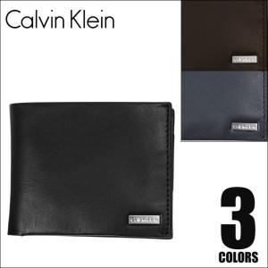 カルバンクライン 二つ折り財布 メンズ メタルロゴ Calvin Klein|crazyferret