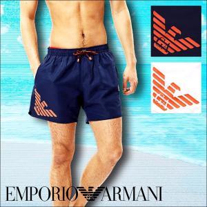 エンポリオアルマーニ 水着 メンズ ショート丈サーフパンツ SEA WORLD BW FLUO EAGLE ARMANI|crazyferret