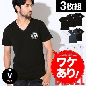 ワケあり DIESEL/ディーゼル Tシャツ 3枚セット Vネック 半袖 無地 Essentials メンズ トップス ブランド crazyferret