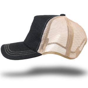 大きいサイズ 帽子 キャップ 無地ヘンプ ラウンドキャップ ブラック ベージュ BIGWATCH ダメージ加工無し|creak-net