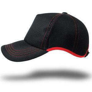 帽子 メンズ 大きいサイズ  無地 ラウンドメッシュキャップ BIGWATCH ブラック/レッドステッチ 黒|creak-net