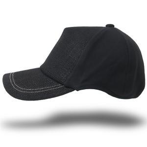 大きいサイズ 帽子 キャップ 無地ヘンプコットン ラウンドキャップ  オールブラック BIGWATCH ダメージ加工無し|creak-net