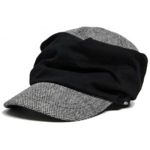大きいサイズ 帽子 帽子 メンズ ワークキャップ シャーリングツイード ブラック キャスケット ビッグワッチ BIGWATCH