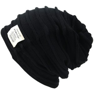 大きいサイズ 帽子 メンズ ニット帽子 ヘンプロール ダブルロール リバーシブル  ブラック グレージュ ニットキャップ|creak-net