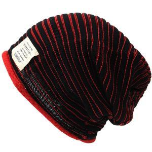 大きいサイズ 帽子 BIGWATCH 10周年記念限定 ヘンプ スリムボーダー ブラックxレッド|creak-net