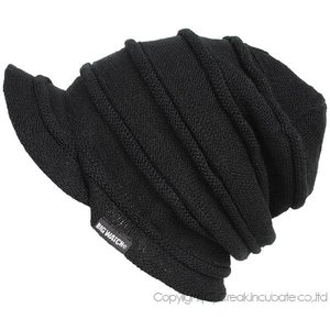 大きいサイズ 帽子 メンズ ニット帽子  つば付きヘンプロール  ブラック グレージュ  ニットキャップ|creak-net