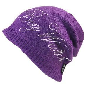 大きいサイズ 帽子 メンズ ニット帽子 プレミアム メタルスタッツ  パープル ニットキャップ creak-net