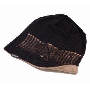 大きいサイズ 帽子 メンズ ニット帽子 スパイダークラッシュ  ブラック ベージュ  ニットキャップ|creak-net