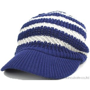 大きいサイズ 帽子 キャスケット レディース メンズ 男女兼用 ジャガードニット  ブルー ホワイト|creak-net