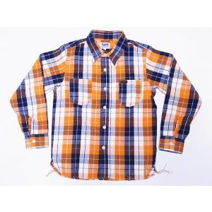 Pherrow's[フェローズ] ネルシャツ 18W-720WS ヘビーフランネル チェック (オレンジ×ネイビー)|cream05
