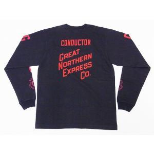 Pherrow's[フェローズ] ロンT 18W-PLT2 GREAT NORTHERN EXPRESS Co. ロングスリーブTシャツ (S.ブラック) cream05