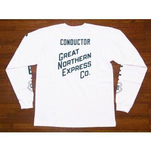Pherrow's[フェローズ] ロンT 18W-PLT2 GREAT NORTHERN EXPRESS Co. ロングスリーブTシャツ (ホワイト) cream05