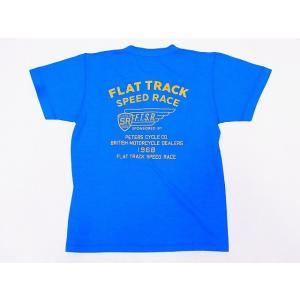 Pherrow's[フェローズ] Tシャツ ヘンリーネックTシャツ 19S-PHNT-P3 FLAT TRACK SPEED RACE ヘンリーT (オーシャンブルー)|cream05
