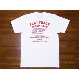 Pherrow's[フェローズ] Tシャツ ヘンリーネックTシャツ 19S-PHNT-P3 FLAT TRACK SPEED RACE ヘンリーT (ホワイト)|cream05