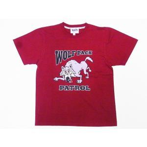 Pherrow's[フェローズ] Tシャツ 19S-PT15 WOLF PACK (バーガンディー)|cream05