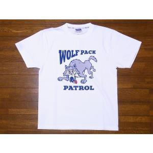 Pherrow's[フェローズ] Tシャツ 19S-PT15 WOLF PACK (ホワイト)|cream05