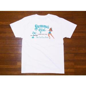 Pherrow's[フェローズ] Tシャツ 19S-PT23 Summer girl (ホワイト)|cream05