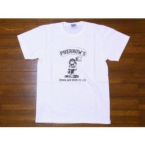 Pherrow's[フェローズ] Tシャツ 19S-PTJ6 DRINK AND BEER CO.,LTD. (ホワイト)|cream05