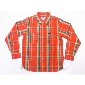 Pherrow's[フェローズ] ネルシャツ 19W-720WS ヘビーフランネル チェック (オレンジ×グリーン)|cream05