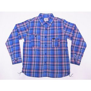 Pherrow's[フェローズ] ネルシャツ 19W-750WS-C ライトフランネル チェック ワークシャツ (サックス)|cream05
