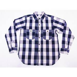 WAREHOUSE[ウエアハウス] ネルシャツ A柄 3104 フランネルシャツ FLANNEL SHIRTS バッファローチェック (ネイビー×オフホワイト)|cream05