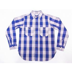 WAREHOUSE[ウエアハウス] ネルシャツ A柄 3104 フランネルシャツ FLANNEL SHIRTS バッファローチェック (ブルー)|cream05