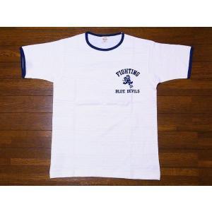 WAREHOUSE[ウエアハウス] Tシャツ リンガー BLUE DEVILS 4059 リンガーTシャツ (クリーム/ネイビー)|cream05