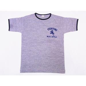 WAREHOUSE[ウエアハウス] Tシャツ リンガー BLUE DEVILS 4059 リンガーTシャツ (杢グレー/スミクロ)|cream05