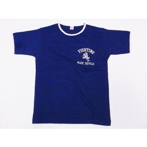 WAREHOUSE[ウエアハウス] Tシャツ リンガー BLUE DEVILS 4059 リンガーTシャツ (ネイビー/クリーム)|cream05