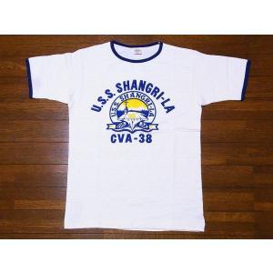 WAREHOUSE[ウエアハウス] Tシャツ リンガー U.S.S. SHANGRI-LA 4059 リンガーTシャツ (クリーム/ネイビー)|cream05