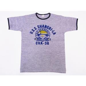 WAREHOUSE[ウエアハウス] Tシャツ リンガー U.S.S. SHANGRI-LA 4059 リンガーTシャツ (杢グレー/スミクロ)|cream05