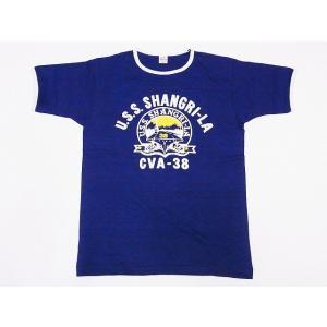 WAREHOUSE[ウエアハウス] Tシャツ リンガー U.S.S. SHANGRI-LA 4059 リンガーTシャツ (ネイビー/クリーム)|cream05