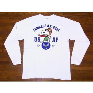 Buzz Rickson's[バズリクソンズ]×PEANUTS[ピーナッツ] ロンT BR68123 ヴィンテージ スヌーピー USAF SNOOPY ロングスリーブTシャツ (ホワイト) cream05