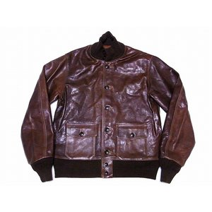 Buzz Rickson's[バズリクソンズ] A-1 ブロンコハイド BR80483 BRONCO HIDE 針抜きミックスリブ (S/BROWN)|cream05