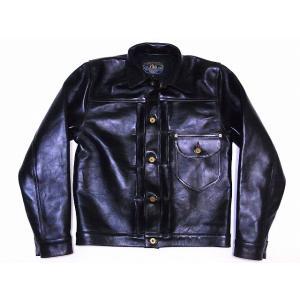 DOUBLE HELIX[ダブルヘリックス] レザージャケット 180401 Western Cowboy ジージャンタイプ ホースレザー カウボーイジャケット 革ジャン (ブラック)|cream05