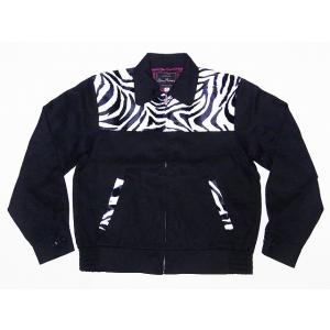 Dry Bones[ドライボーンズ] ギャバジンジャケット DJ-1012 ゼブラ柄 ZEBRA Animal 2 Tone Sport Jacket スポーツジャケット (ゼブラ×ブラック)|cream05
