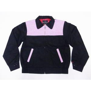 Dry Bones[ドライボーンズ] ギャバジンジャケット DJ-1056 ギャバジャン ツートーン スポーツジャケット 2 Tone Sport Jacket (ブラック×ピンク)|cream05