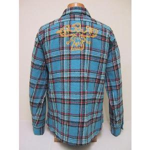 BLUE BUCK[ブルーバック] ネルシャツ W/EMB'D HS85NH-5B (BLUE)|cream05