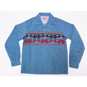 STYLE EYES[スタイルアイズ] オープンシャツ DEVIL DOG SE27723 長袖 CORDUROY SPORTS SHIRT (L.ブルー)|cream05