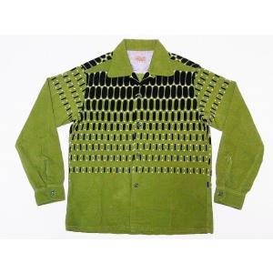 STYLE EYES[スタイルアイズ] オープンシャツ ELVIS DOTS SE27724 エルビスドット 長袖 CORDUROY SPORTS SHIRT (L.グリーン)|cream05